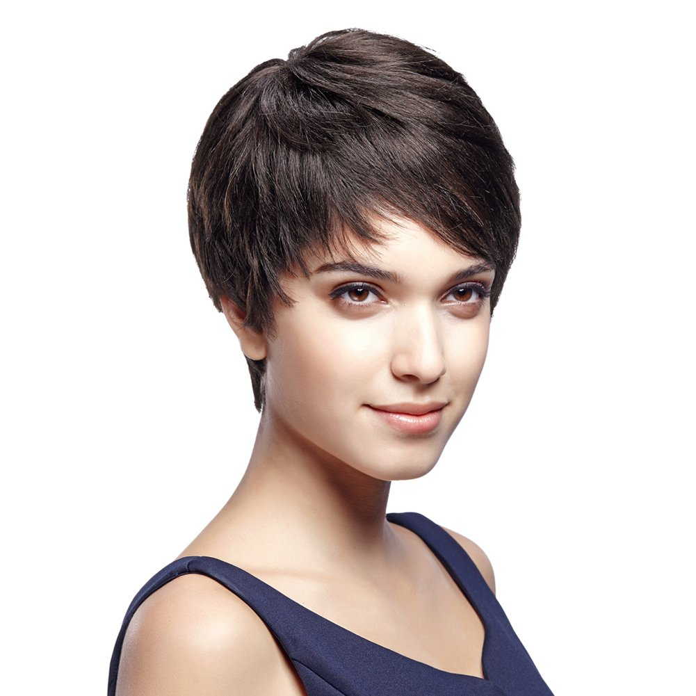 Eseewigs Cute Short 100% Brazilian Human Hair Pixie Cut Wigs For White Women Full Lace Human Hair Wigs