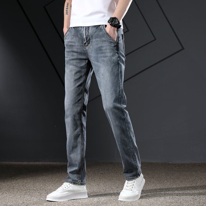 KSTUN Men's Jeans Classic Straight Regular Fit Grey Blue Stretch Jeans for Men Spring Summer Casual Denim Pants Long Trousers 13