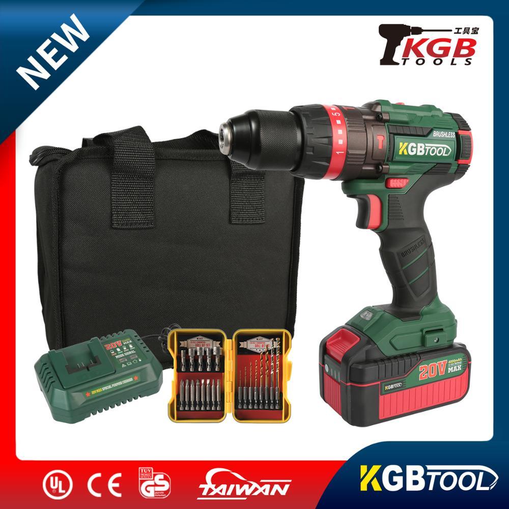 KGB sans fil moteur Brushless perceuse dynamométrique électrique perceuse à percussion sans fil tournevis DC Lithium-Ion batterie 2 vitesses outil électrique
