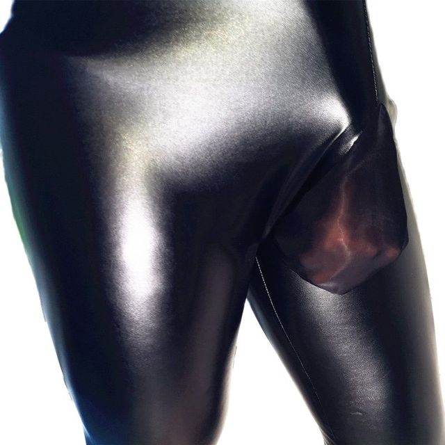 Mens Fad Punk Elastic Tight Trousers PU Faux Leather Glossy Stage Pencil Pants Sexy Clubwear Gay Club Dance Wear Velvet Legging 4