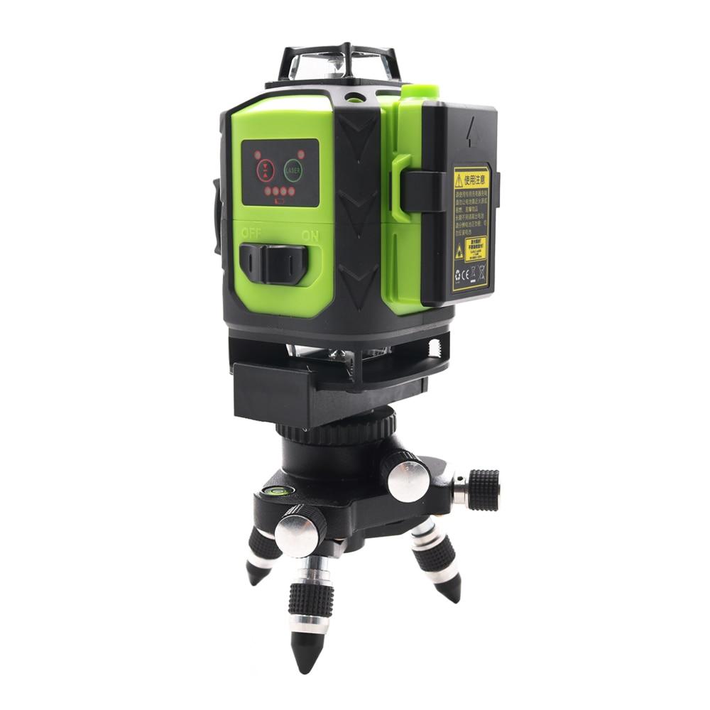 Tools : 2pcs Battery Fukuda 4D 16 Green lines 532NM  4D16Lines laser levelSelf-Leveling 360 HorizontalVertical Cross Super Powerful