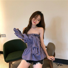 Summer Autumn Women Shirt Fashion Print Slash Neck Boho Long Sleeve Off Shoulder Loose Club Party Tops Sexy Lady Shirts