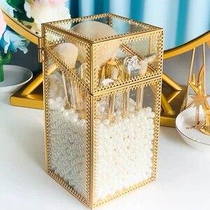 Модные Золотые очки, органайзер для макияжа, прозрачная коробка для хранения макияжа, держатель для карандаша, чехол, держатель для космети...