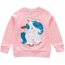 Г., Осенние футболки для девочек Детский свитер с длинными рукавами, Рубашки детские рубашки с блестками и единорогом верхняя одежда для девочек
