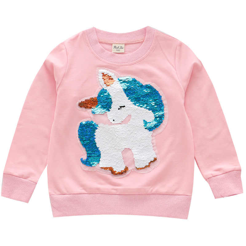 2019 Autumn Girls T-Shirts Long Sleeve Kids Sweater Shirts Unicorn Sequined Children Shirts Top Girls Clothing