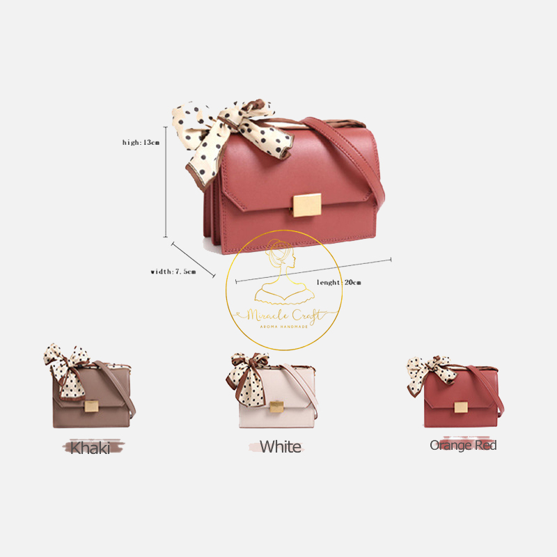 2020 New Fashion Design Korean Version Genuine Leather Women's Scarf Small Square Purse Real Cowhide Bowknot Messegner Bag