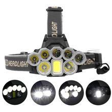Ультра яркий 90000 люмен 2* T6+ 5* XPE+ 1* COB светодиодный налобный фонарь USB Перезаряжаемый водонепроницаемый фонарь для охоты, туризма, рыбалки