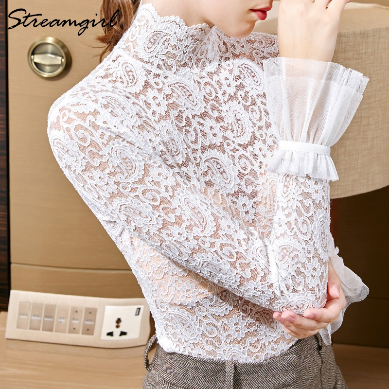 Women Blouses Lace Elegant Embroidered Blouse Spring Women Tops And Blouses For Office Lace Shirt Woman Transparent Blouse Woman