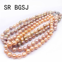 Free Shipping 9 11mm Pink Purple Gold Round Edsion Freshwater Pearl Beads Knot Moon Clasp Jewelry Necklace 18