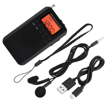 מיני LCD הדיגיטלי FM/AM רדיו רמקול שעון מעורר זמן תצוגת 3.5mm לאוזניות נייד רדיו