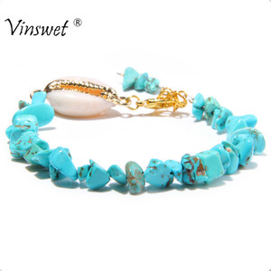 Colorful Handmade Beach Rainbow Shell Tassel Coral Turquoises Pearls Beaded Charm Anklets Bracelet for women shell Jewelry(China)