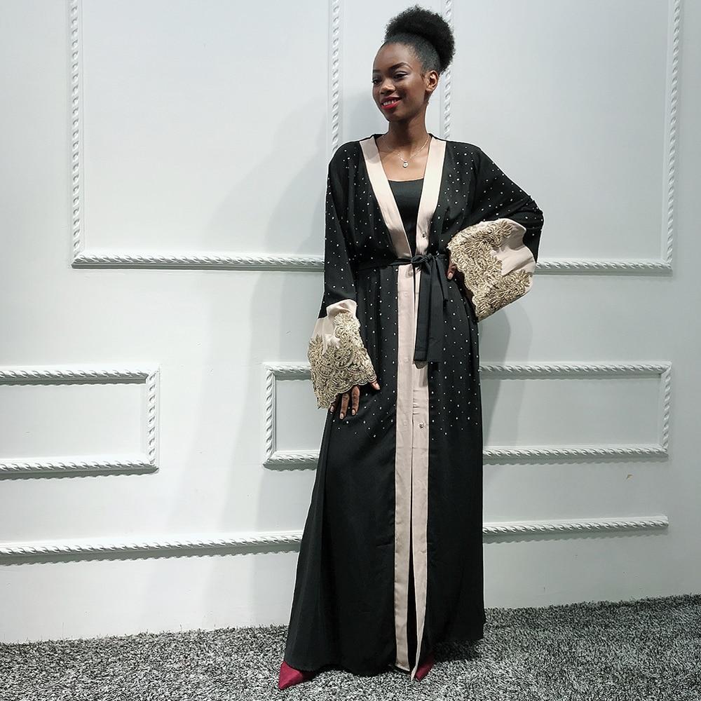 Ladies Black Kaftan Dubai Open Abaya Kimono Turkish Hijab Muslim Dress Women Islam Caftan Marocain Ramadan Islamic Clothing Robe