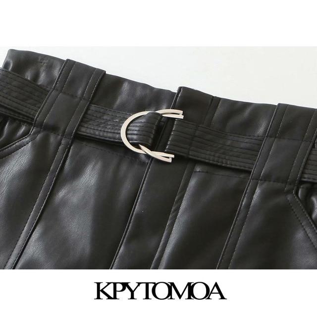 KPYTOMOA Women 2020 Chic Fashion With Belt Faux Leather Shorts Vintage High Waist Zipper Fly Pockets Female Short Pants Mujer 3