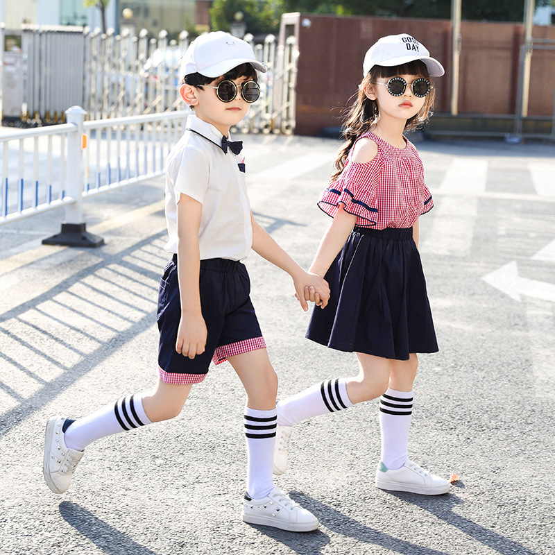 2019 New Style Korean-style Short Sleeve Plaid Shirt Set Young STUDENT'S School Uniform Business Attire England Kindergarten Sui