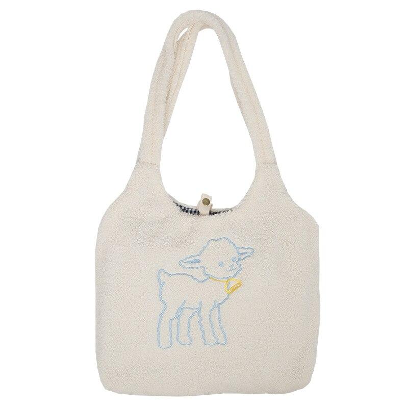 Phụ Nữ Thịt Cừu Như Vải Đeo Vai Đơn Giản Vải Xách Công Suất Lớn Thêu Túi Dễ Thương Túi Sách Dành Cho Bé Gái 6