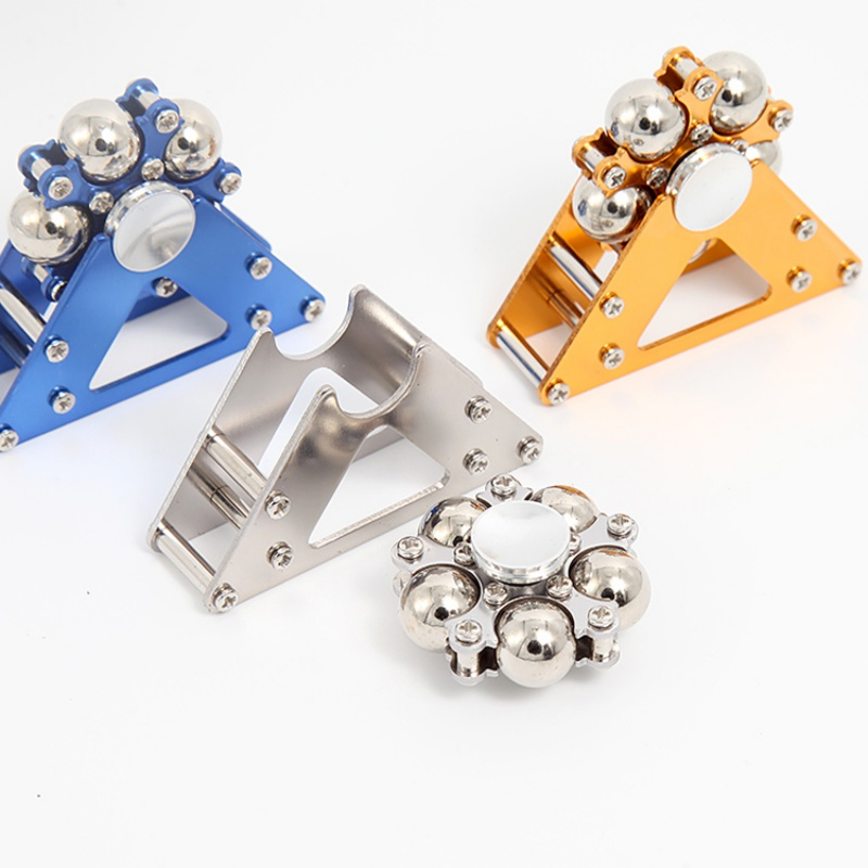 1pc Five Bead Ferris Wheel Fingertip Metal Gyroscope Stainless Steel Ball Bracket Finger Gyro Fidget Spinner 3 Colors