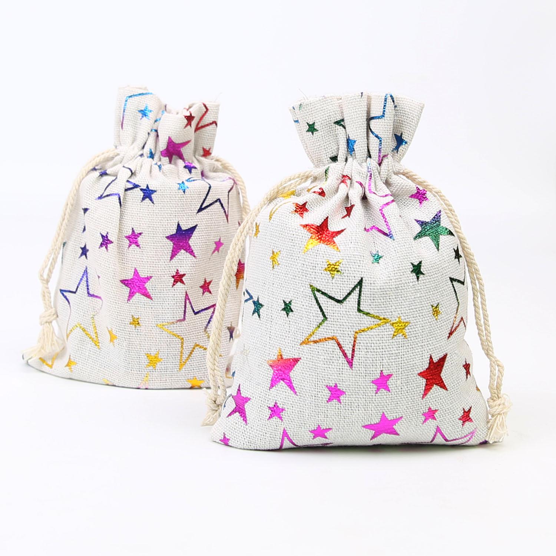 Cotton Linen Bundle Pocket Color Five-star Hot Stamping Linen Bag Drawstring Gift Bag Handmade Cloth Bag 20pcs