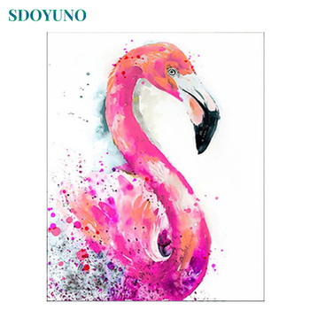 SDOYUNO 60x75cm Frame Paint By Numbers Animals Flamingo Oil Painting On Canvas DIY Digital Home Decor