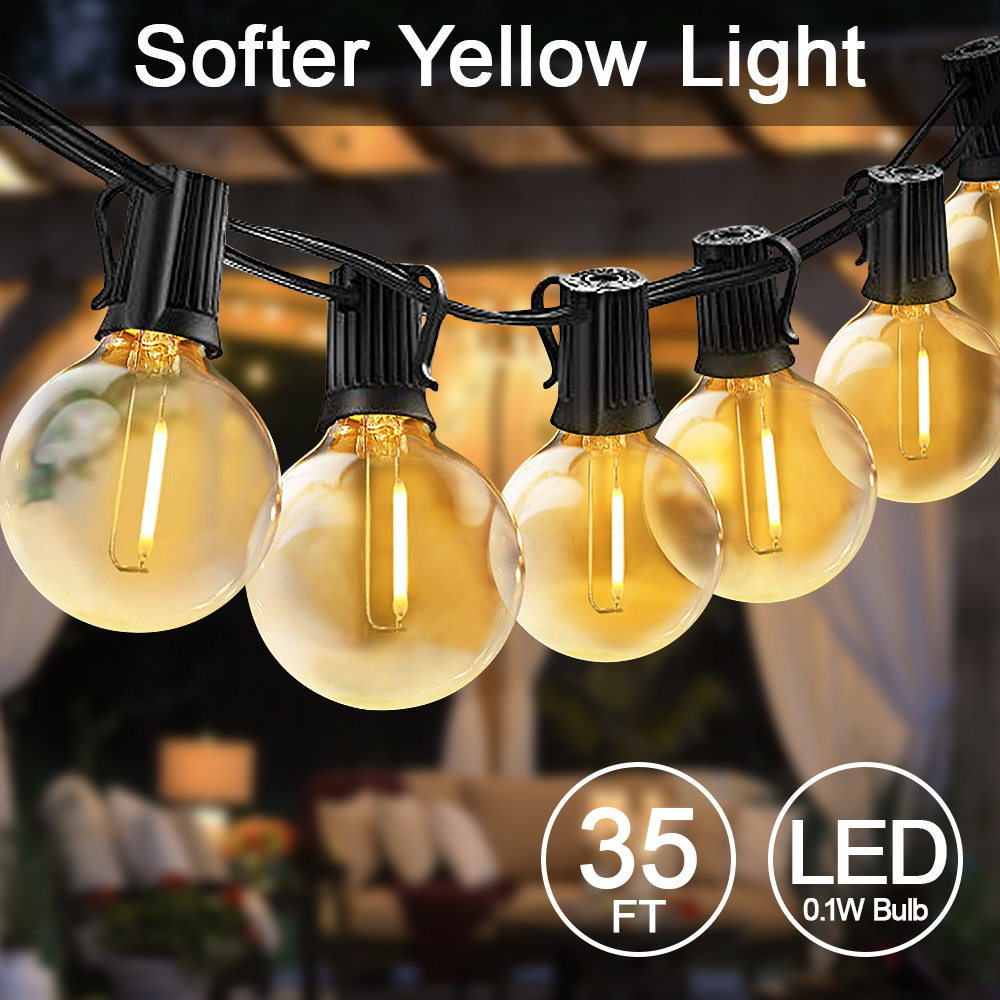Globe String Lights Outdoor, 35ft G40 LED Light String Shatterproof 30 Bulbs Decorative Lighting For Party Wedding Christmas