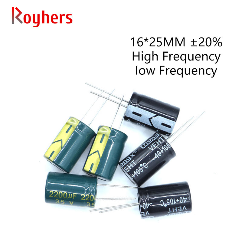 5Pcs 16*25 High Frequency Low ESR Aluminum Electrolytic Capacitor Kit 450V 100V 63V 35V 2200UF 470UF 68UF 33UF 22UF Assorted Set