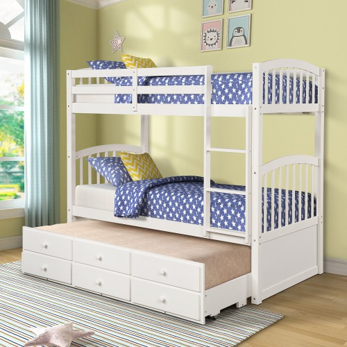 Twin Bunk Bed With Ladder Safety Rail Twin Trundle Bed With 3 Drawers For Kids, Teens Bedroom Guest Room Furniture Children Beds