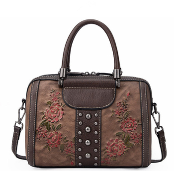 Highend New Vintage Fashion Red Coffee Brown Flower Pattern Genuine Leather Women Handbag Shoulder Messenger Bags Tote M80077