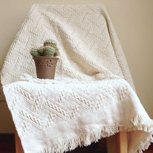 Jacquard Knitted Sofa Cover Blanket With Tassel Tapestry For Bed Airplane Travel Cotton Bedspread Throw Blankets Home Decoration