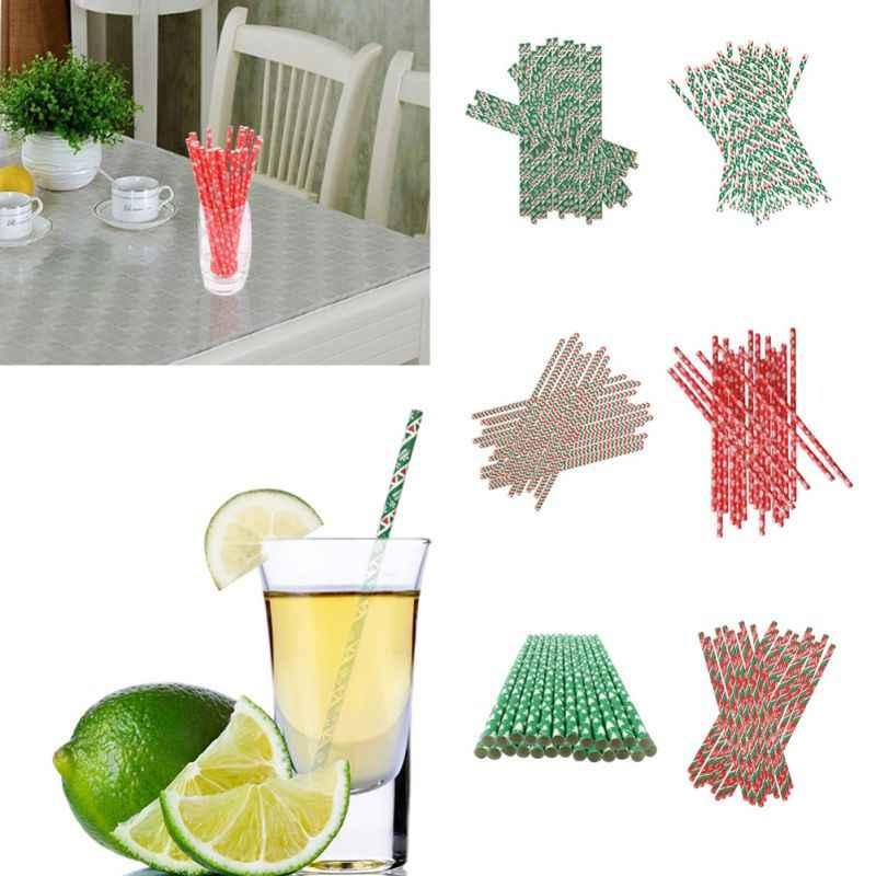 Fiesta de Navidad pajita de colores para beber agua, Pajita desechable respetuosa con el medio ambiente para pajillas de papel biodegradables para fiestas