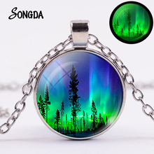 Northern Lights Grow In The Dark Necklace Green Aurora Borealis Charm Art Photos Glass Cabochon Pendant Luminous Jewelry