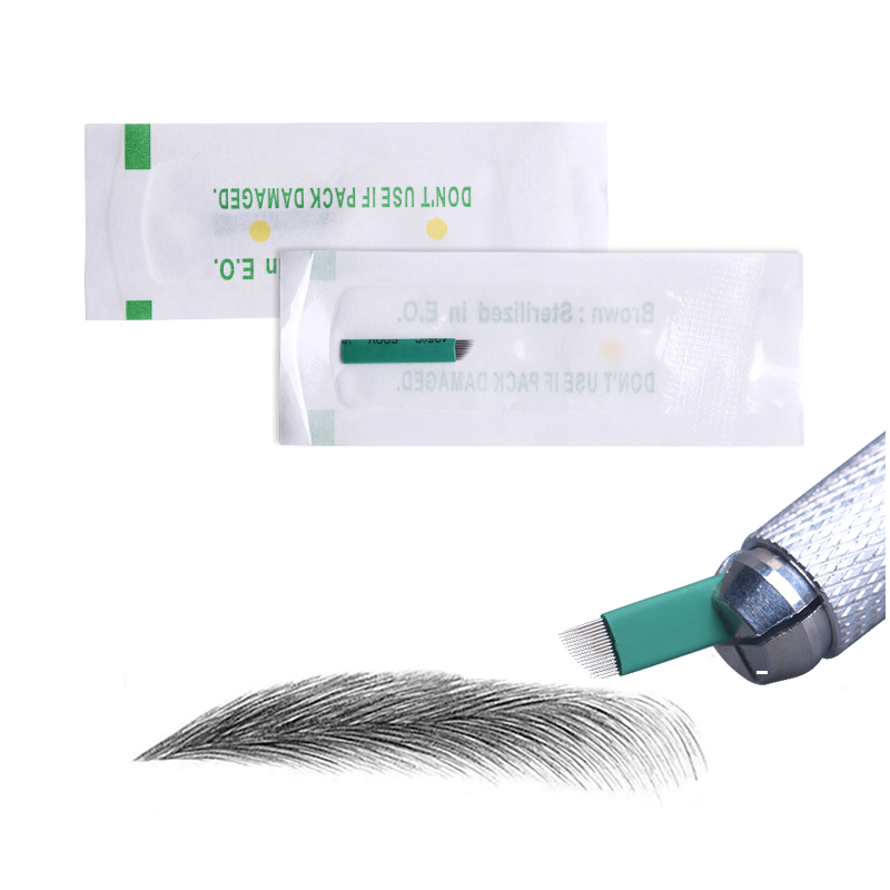 0.18mm Microblading Needle Green 16 Pin Permanent Makeup Tattoo Blade Tebori Blade Needle For Manual Pen 3D Embroidery Eyeliner