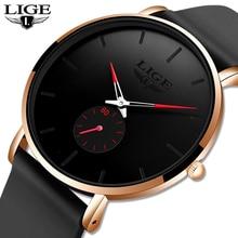 LIGE Mens Watches Top Brand Luxury Black Quartz Men Watch Drop Shipping Silicone