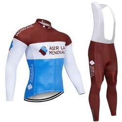 2020 ag2r zespół jazda na rowerze JERSEY odzież rowerowa zestaw spodni mężczyzna 20D pad Ropa Ciclismo zima termiczna polar jazda na rowerze Maillot Culotte w Zestawy rowerowe od Sport i rozrywka na