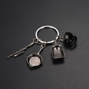 PUBG Game Keychain Battle Grounds Keychain Helmet Pan 98K Gun Alloy Toys Jewelry FPS Game Fans Figurines Toys image