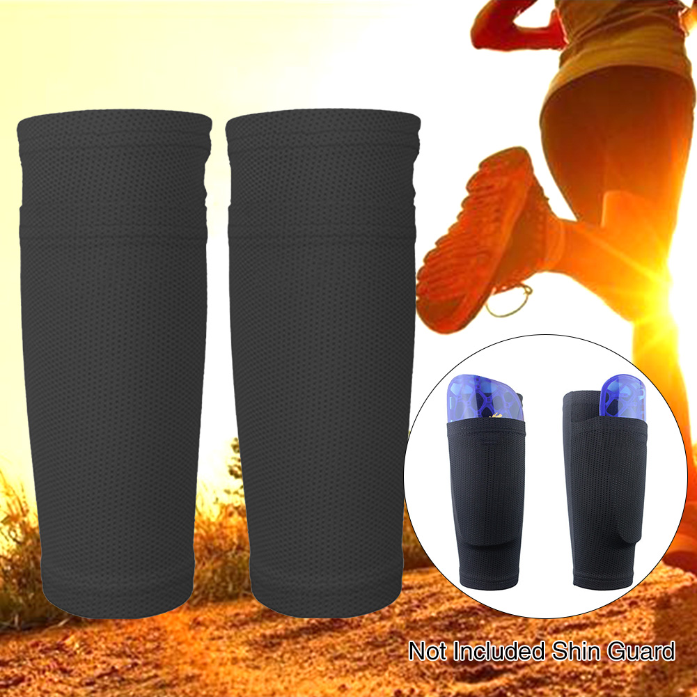 1 Pair Protective Gear Breathable Mesh Soccer Football Leg Sleeves Nylon Shin Guard Socks Sports Shields With Pocket Legging