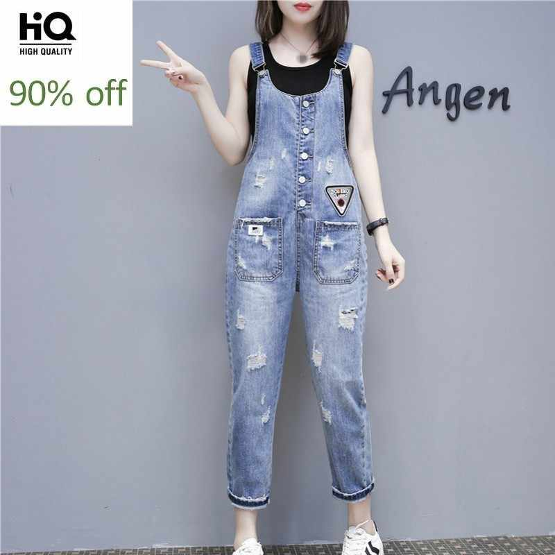 Frühling Fashion New Straps Overall Frauen Adrette Ripped Loch Lose Denim Overalls Casual Hohe Taille Playsuits Strampler Jeans