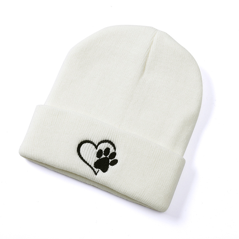 2019 New Women Cuff Beanie Hat In Autumn And Winter Casual Knitted Cap Sweet Palm Embroidery Headwear Solid Hip-hop Bonnet Femme