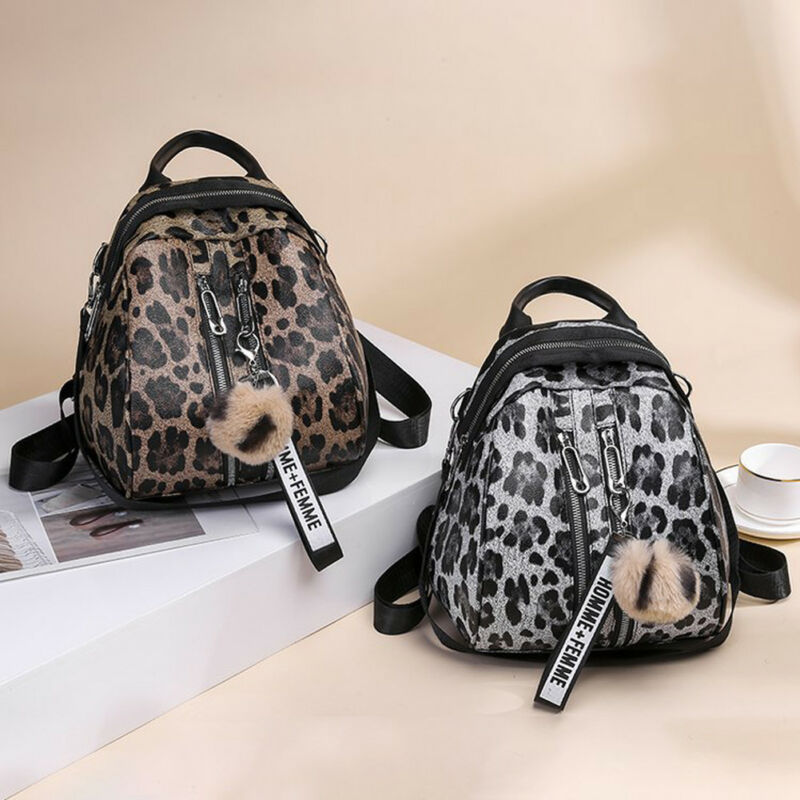 New Women's Fashion Backpack Personality Leopard Print PU Leather Waterproof College Wind Shoulder Bag Hot