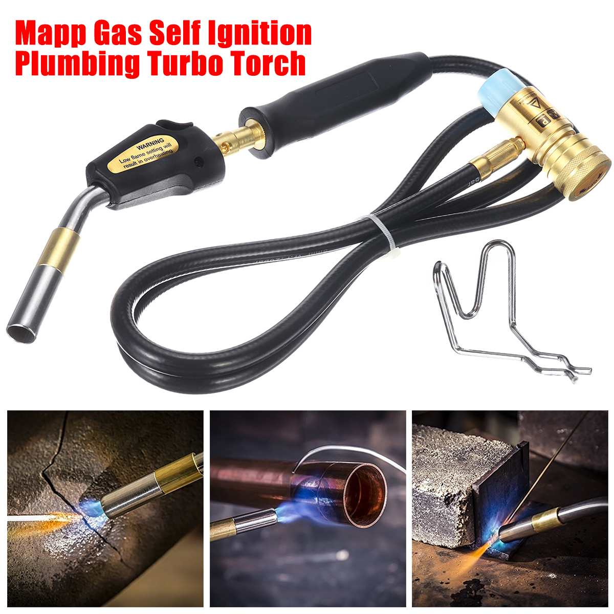 Electronic Ignition Liquefied Gas Welding Torch Kit Mapp Gas Self Ignition Plumbing Solder Propane Welding Turbo Torch W  Hose