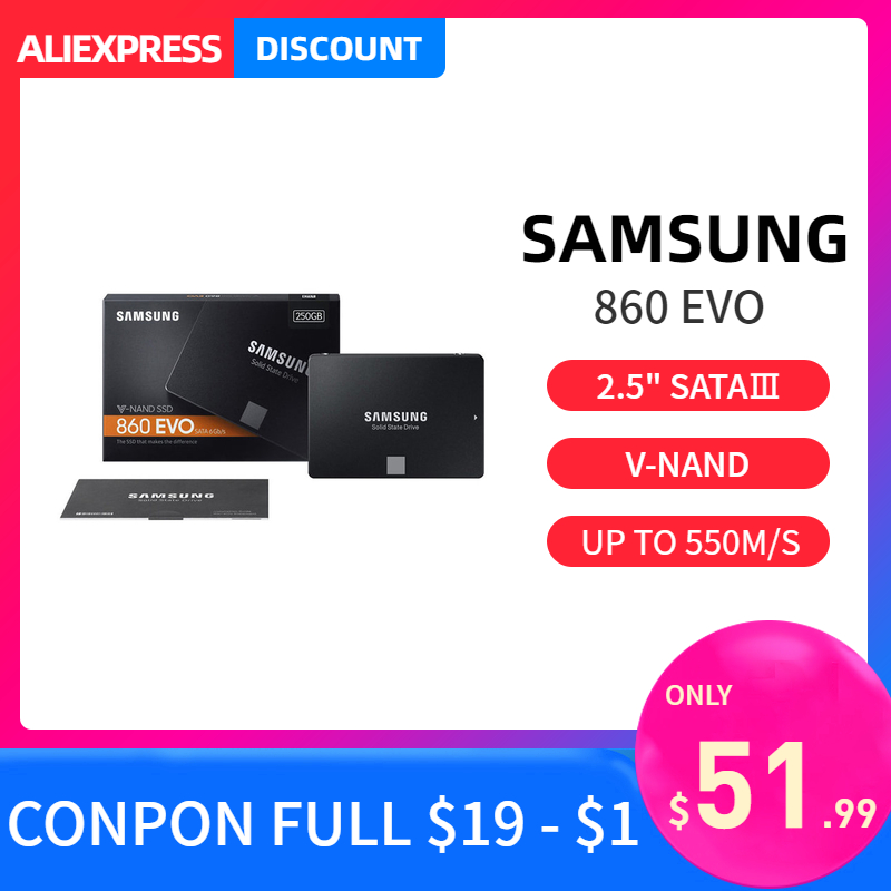 Samsung 860 Evo SSD 1TB 500GB 2TB AMD Intel Internal Solid State Drives Portable Hdd DDR4 SATA3 For Laptop Assembling Computer