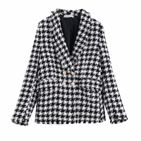 Fashion Za Vintage Women Houndstooth Plaid Tweed Jacket Double Breasted Pocket Long Sleeve Female Coat Casaco Femme