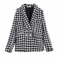Fashion Za Vintage Women Houndstooth Plaid Tweed Jacket Double Breasted Pocket Long Sleeve Female Coat Casaco Femme