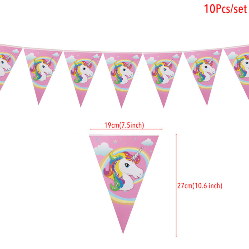 Image 5 - 1set Rainbow Unicorn Banners Unicorn Party Hanging Flags Kids Birthday Party Decorations Bunting Garland Baby Shower Supplies-in Banners, Streamers & Confetti from Home & Garden