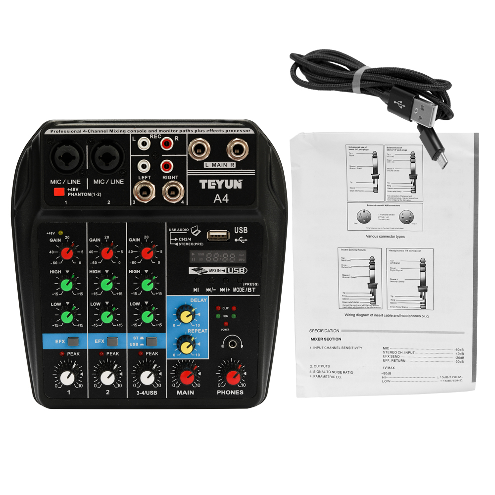 TU04 BT Sound Mixing Console 4 Channels Audio Mixer Record 48V Phantom Power Monitor AUX Paths Plus Effects Mixer audio with usb