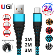 цена на UGI Fast Charge Cable Data Cable For IOS Type C USB C Nylon Braided Quick Charge Micro USB Tablet Data Sync Blue