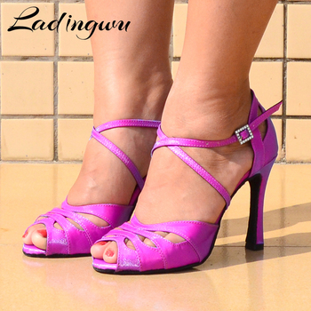 Ladingwu zapatos de baile latino de apertura pequeña para mujeres Salsa Party Ballroom Dance Shoes catiónico camaleon symphone Flash satinado