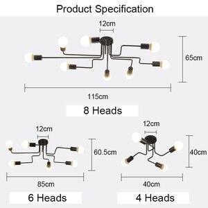 Image 5 - 現代の led シャンデリア照明器具ブラック鉄 4 6 8 支店天井シャンデリアヴィンテージ工業ランプリビングルームのベッドルーム