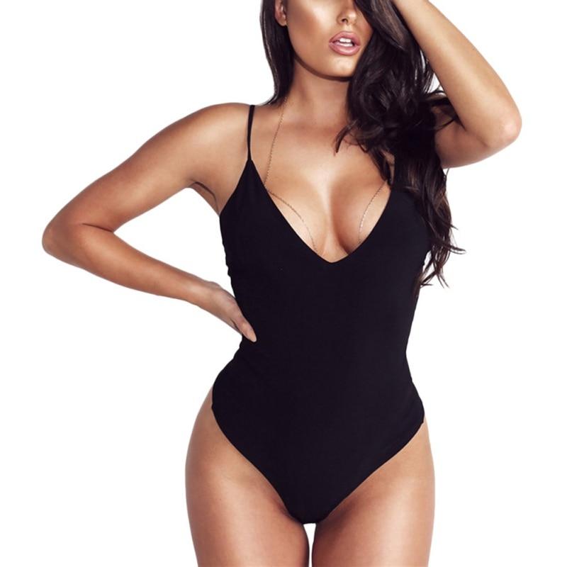 Women Sexy Sling Bodysuit Ladies Fashion V Neck Sleeveless Skinny Bodysuits 2020 Body