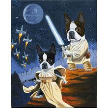 Diy картина по номерам терьер Раскраска собаки война 40 х 50