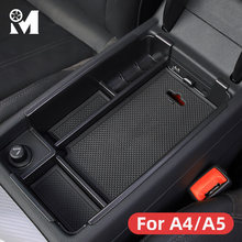 Car Styling Interior Central Armrest Storage Box Organizer For Audi A4 B9 B8 Avant Sline Coupe Accessories 2016 2017 2018 2019(China)