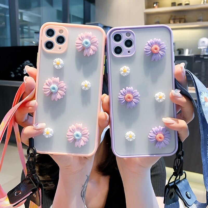 3D Daisy Candy Skin Case For Iphone 11 12 Pro Max 11Pro 11 XS Max XR X 7 8 Plus 6 6Splus SE Matte Back PC Phone Cover With Strap